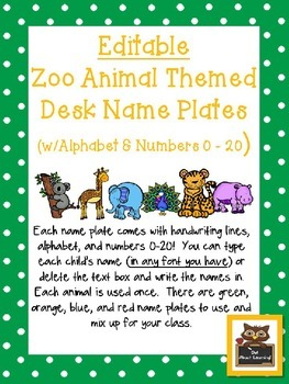 Editable Zoo Animals Themed Name Desk Plates w/Alphabet and Numbers 0 -20