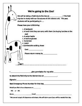 Editable Zoo permission field trip form