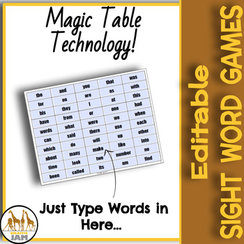 Editable and Auto Generated Sight Word Game for Elementary Students Low Prep