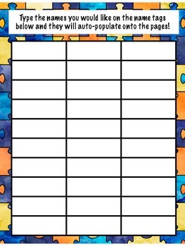 Editable and Auto Populating Desk Name Plates! Puzzle Coloring Pattern!
