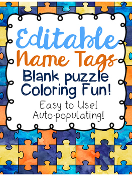 Editable and Auto Populating Desk Name Plates! Puzzle Colo