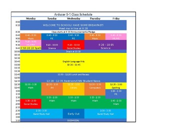 Editable and Color-Coded Class Schedule