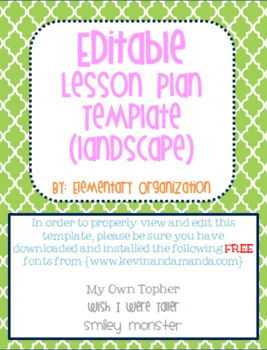 editable and customizable lesson plan template book view tpt