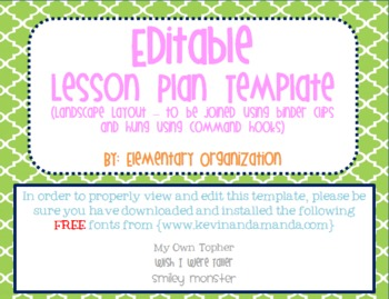 editable and customizable lesson plan template vertical view tpt