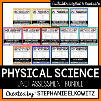 Editable and Differentiated Physical Science Unit Exams