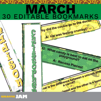 Editable and Personalized Bookmarks for Students for March with Jokes