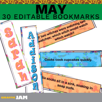 Editable and Personalized Bookmarks for Students for May with Jokes