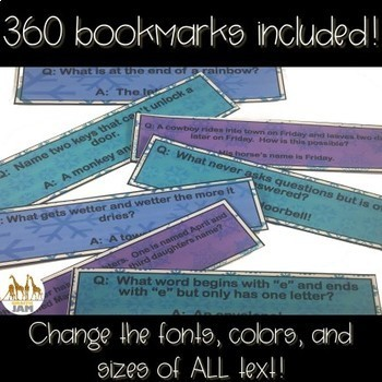 Editable & Personalized Bookmarks for Students