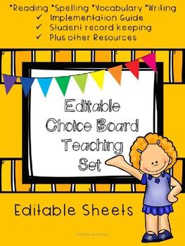 Editable and Pre-made Choice Board