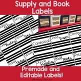 Editable and Premade Supply and Book Labels