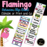 Editable and Print as you Go - Tropical Flamingo Themed Behavior Clip Chart