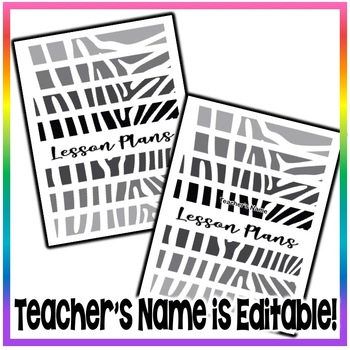 Editable and Write-On Weekly Lesson Plans Template Sets - Zebra