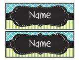 Editable aqua quatrefoil lime stripe nameplates/ deskplates
