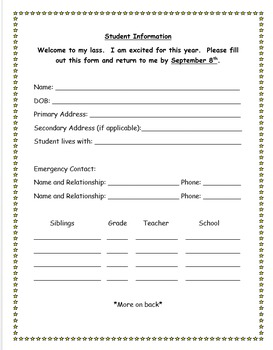Editable back to school student information sheet