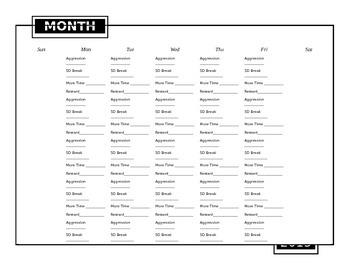 Editable behavior tracker, calendar