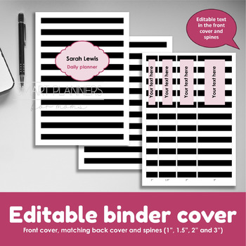 Editable binder cover. Front and back cover and spines. Editable planner cover.