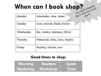 Editable book shopping schedule