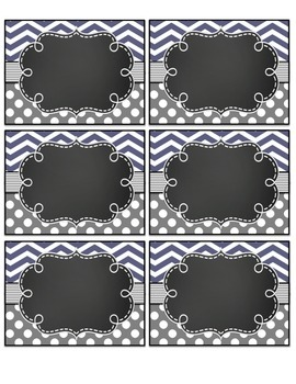 Editable classroom Signs and Labels Gray chevron and dots