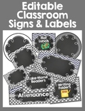 Gray Chevron and dots Editable Classroom Signs and Labels