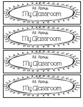 Editable classroom information flip chart in color