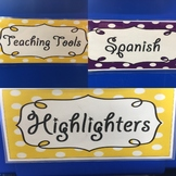 Editable classroom labels (purple and yellow polka dots)