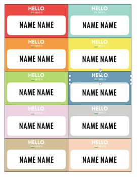 Editable colorful name cards