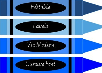 Editable crayon design labels PLUS colour chart with crayons Vic Modern Cursive.