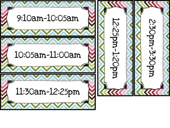 Editable daily schedule (Chevron themed)