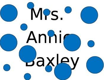Editable document for Teacher's name