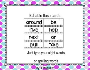 Editable Flash Card Templates Teaching Resources | Teachers Pay Teachers