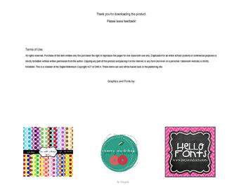 Editable flash cards template