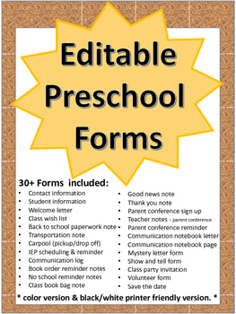 Editable forms for Preschool and Kindergarten