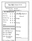 Editable home note for elementary school
