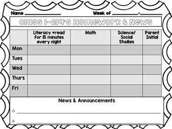Editable Homework Template