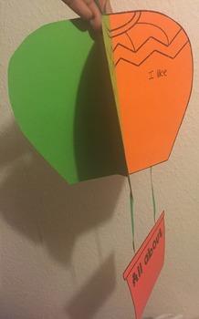Editable hot air balloon (New class/end of year)