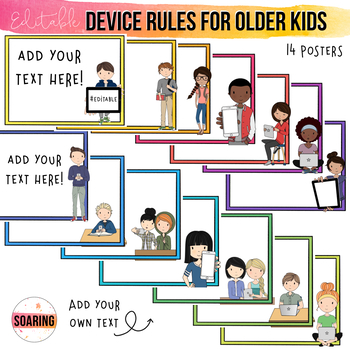 EDITABLE iPad & Device Rule Posters for Big Kids | To Teach Digital Citizenship