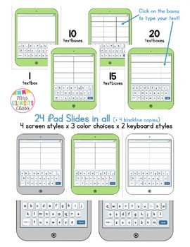 """Editable iPads - Add your own text! 24 """"iPad"""" styles to choose from!"""