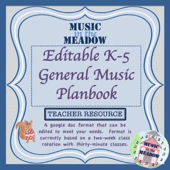 Editable k-5 General Music Planner
