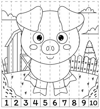 Editable mistery puzzles farm animals theme