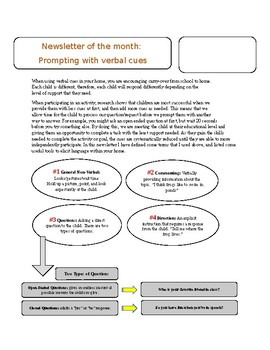 Editable monthly newsletter / Prompting with verbal cues