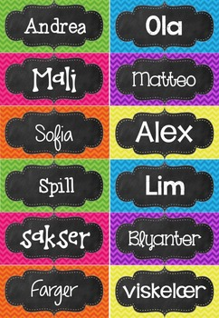 Redigerbare navn- og merkelapper