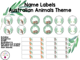 Editable name labels circles and rectangles Australian Animals Theme