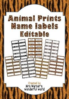 Editable name labels / tags - Animal Print