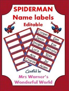 Editable name labels / tags - Superheroes - Spiderman