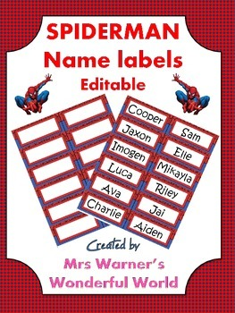 Editable name labels / tags - Superheroes - Spiderman