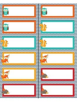 Editable name labels / tags - Woodland (fox, owl, hedgehog, squirrel)