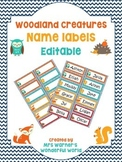 Editable name labels / tags - Woodland (fox, owl, hedgehog