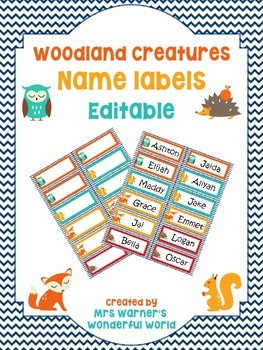 Editable name labels / tags - Woodland (fox, owl, hedgehog
