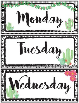 Editable name tags and labels- Cactus, Boho themed