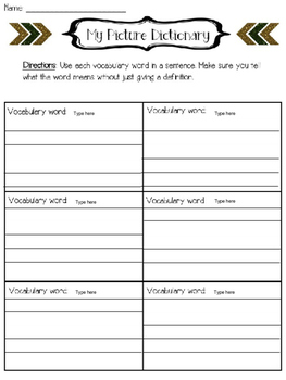 Editable picture dictionary for vocabulary words